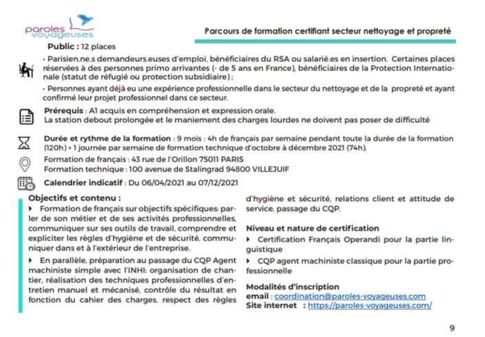 Les formations Paris Tous en jeux 2021