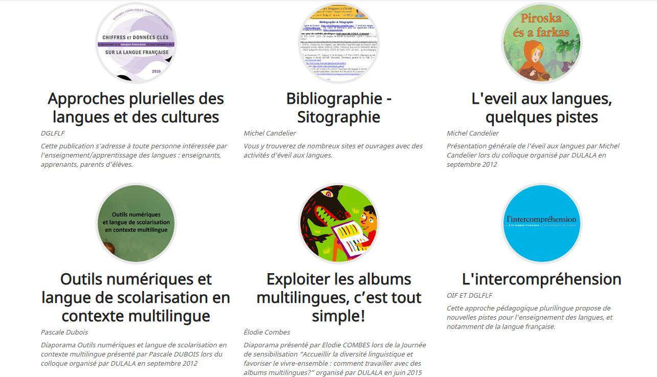 Approches plurielles/Eveil aux langues : outils pédagogiques de Dulala