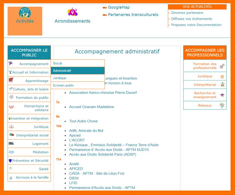 Naviguer avec les catégories sur Actionstransculturelles.org