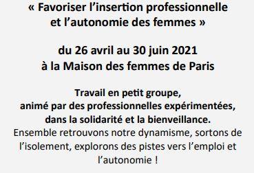 """La Maison des femmes de Paris lance sa session printemps 2021 des ateliers """"Insertion emploi""""."""