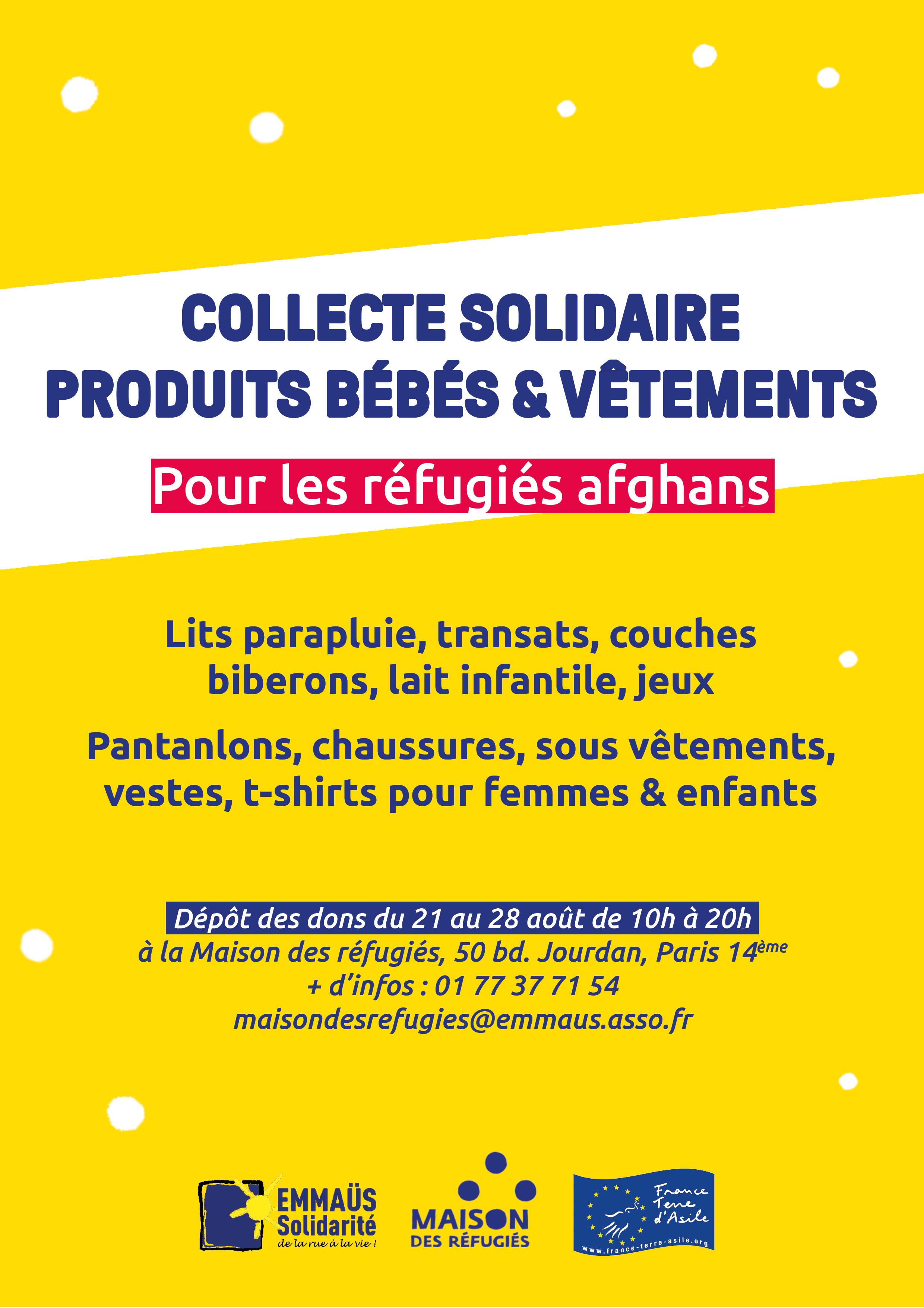 Collecte solidaire pour les réfugiés afghans