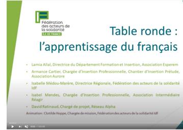 Table ronde : l'apprentissage du français, Fédération des acteurs de la solidarité IdF